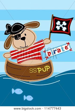Pirate Pup Sitting In A Boat Embroidery