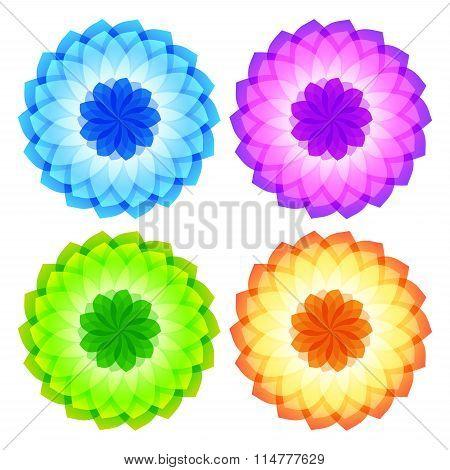 Aroma Flower Logo Set Of Icons On White