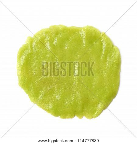 Squashed ball of wasabi paste isolated