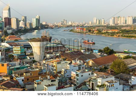 HO CHI MINH CITY, VIETNAM - JAN 15, 2016: Top view of Saigon River. Saigon River (the length of 256 kilometers) is most important to Ho Chi Minh City as it is the main water supply.