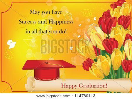 Graduation card with cap, diploma, crocus and tulips