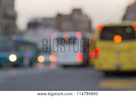 Public transportation - bus - blurred background.