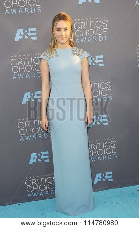Saoirse Ronan at the 21st Annual Critics' Choice Awards held at the Barker Hangar in Santa Monica, USA on January 17, 2016.