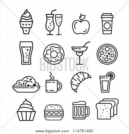 Fast junk food icons set