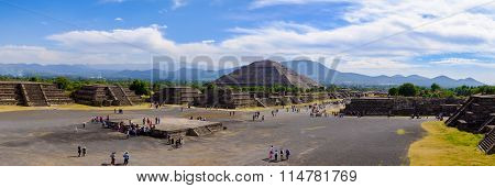 Teotihuacan, Mexico - 28 December 2015: Panoramic View Of Pyramid Of The Sun And Avenue Of The Dead