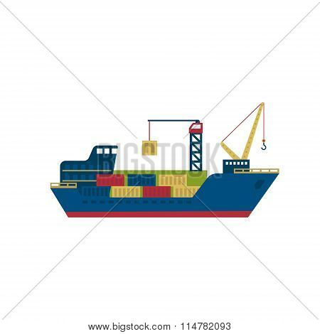 Tanker Cargo Ship with Containers. Vector Illustration