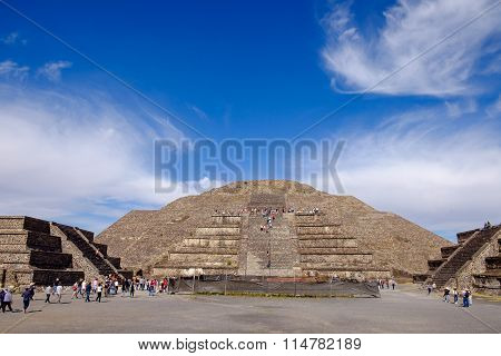 Teotihuacan, Mexico - 28 December 2015: Scenic View Of Pyramid Of The Moon At Teotihuacan Near Mexic