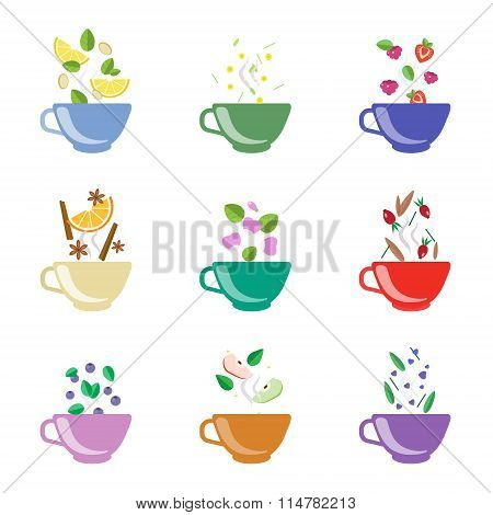 Tea Flavors Vector Illustration Set