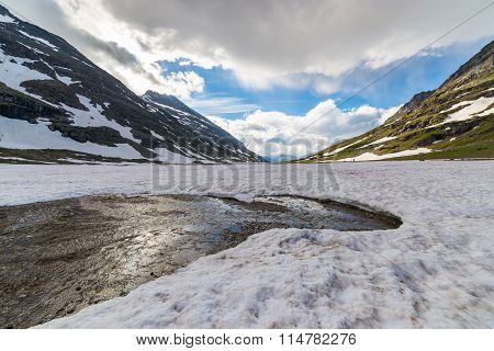 Melting Snow At High Altitude In The Alps
