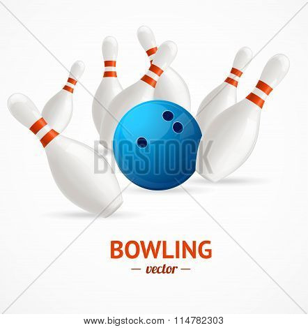 Bowling Ball Crashing Into The Pins. Vector