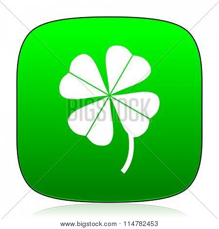 four-leaf clover green icon for web and mobile app