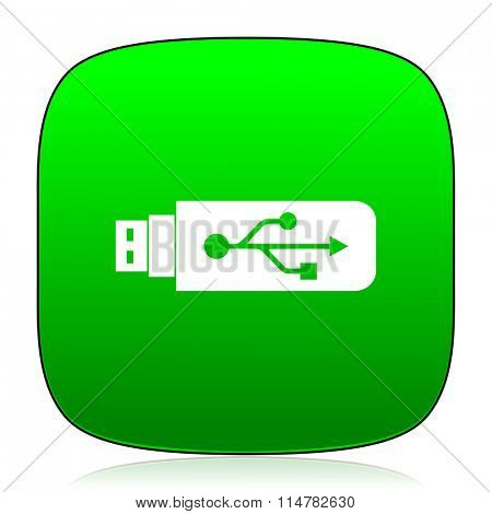 usb green icon for web and mobile app