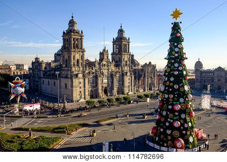 View Of Zocalo, Cathedral And Christmas Tree In Mexico City
