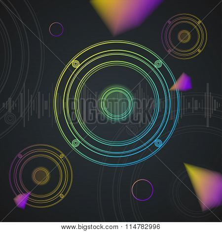 Music Background Colorful Outline Loudspeaker. Vector
