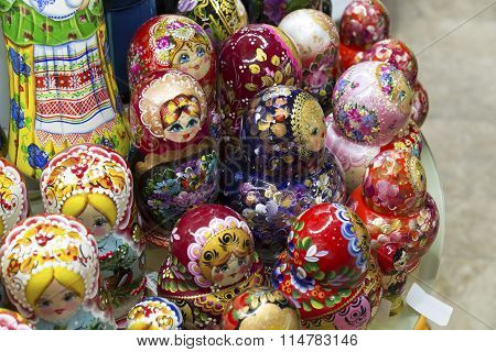 Moscow, Russia - January 10 2015.  matryoshka  - old national toy at gift shop