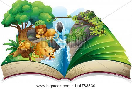 Lion faminly living by the waterfall illustration