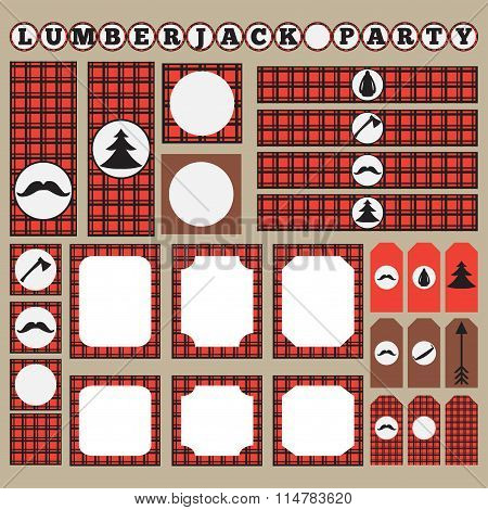 Printable set of vintage Lumberjack party elements. Templates, labels, icons and wraps.