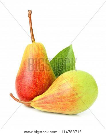 Ripe Pears Isolated With Leaves.