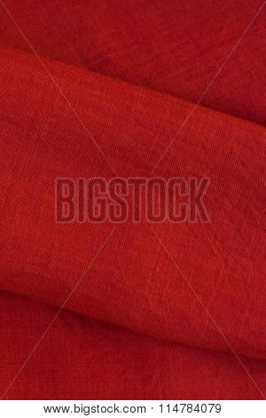 Close Up Of A Sari - Red Silk Textile With Golden Lines