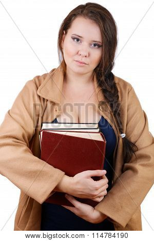 Plus Size Woman With Thick Volumes Of Books On A White Background