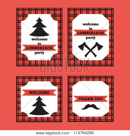 Printable set of vintage Lumberjack invitation and welcome cards