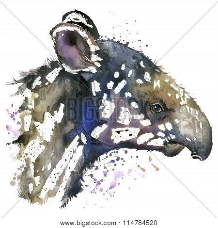 watercolor tapir cub. Tapir cub T-shirt graphics. Tapir illustration. unusual illustration  Tapir fo