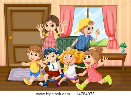 Children running around the room illustration