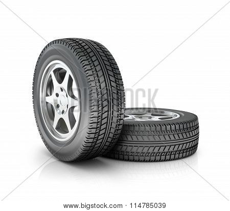 Two Car Wheels Isolated On White