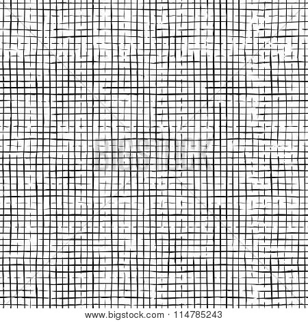 Seamless Pattern Of Checkered Thin Pencil Strokes.