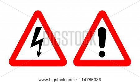 Vector high voltage and warning signs.