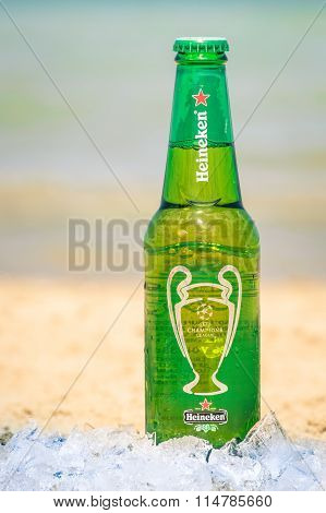 Heineken Bottle At The Beach Ready To Drink - Bottled Lager Beer