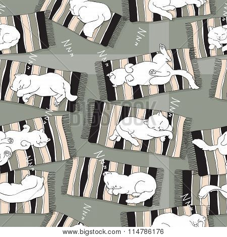 Vector seamless pattern with   sleeping cat on a stripe mat