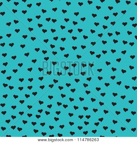 Seamless Pattern With Tiny Black Hearts. Abstract Repeating. Cute Backdrop. Blue Background.
