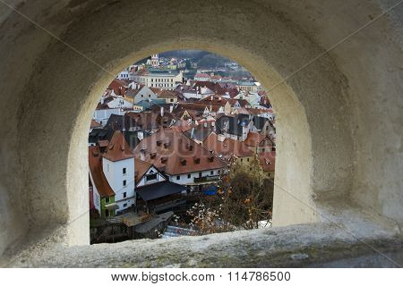 CESKY KRUMLOV, CZECH REPUBLIC - JANUARY 12, 2016: View to historic town Cesky Krumlov on the river Vltava
