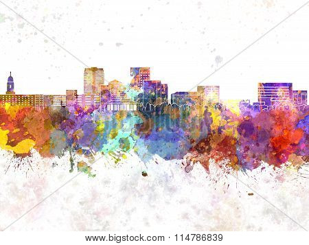 Evansville Skyline In Watercolor Background