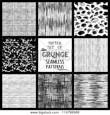 Set Of Hand-drawn Seamless Brush Strokes Patterns.