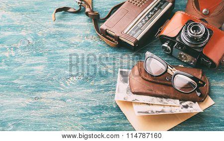 Retro Glasses And Old Retro Camera