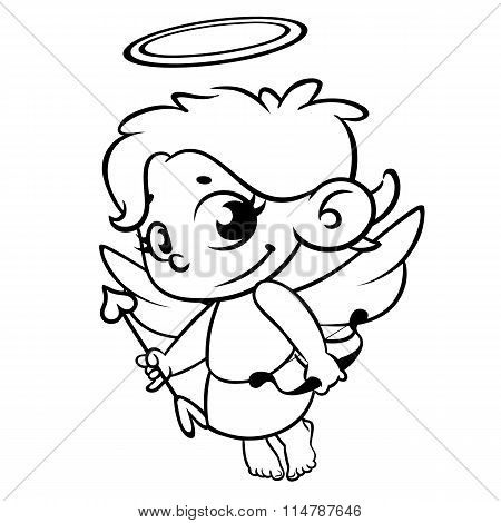 Valentine's Day  cupid with bow and arrow. Monochrome vector line art isolated