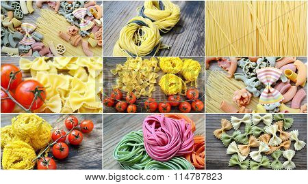 Collage of different types and shapes of Italian pasta