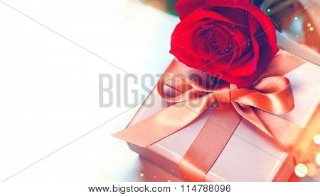 Rose and Gift box. Valentine's Day Red Rose and gift with silk bow isolated on white background. Wedding or Valentines Gift. Art design with bunch of beautiful flowers and red satin ribbon closeup