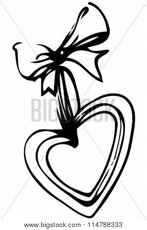 Vector Sketch Of Heart On A Beautiful Bows