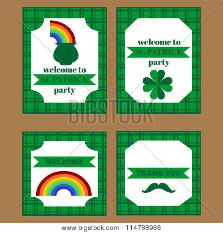 Printable set of saint patrick party elements.