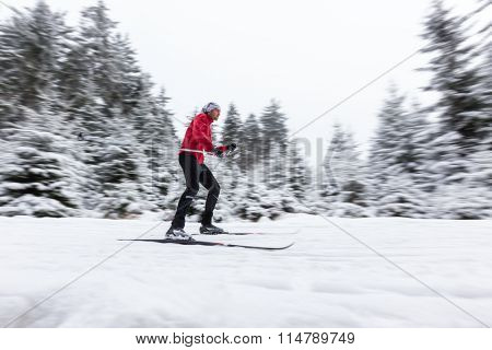 Cross-country skier in blur motion