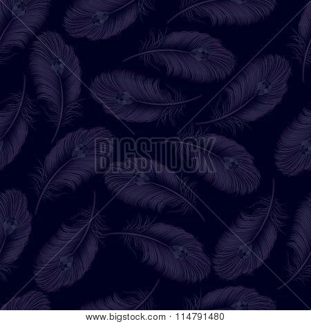 A Transparent Background From Feathers Without Seam. Vector Illustration.