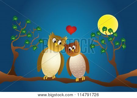 Two Amorous Owl Sitting On A Branch, At Night.