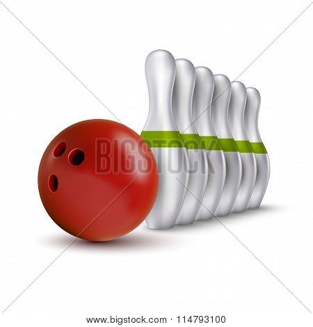 Ball And Pins Of Bowling. Vector Realistic Skittles With Ball Isolated On The White.