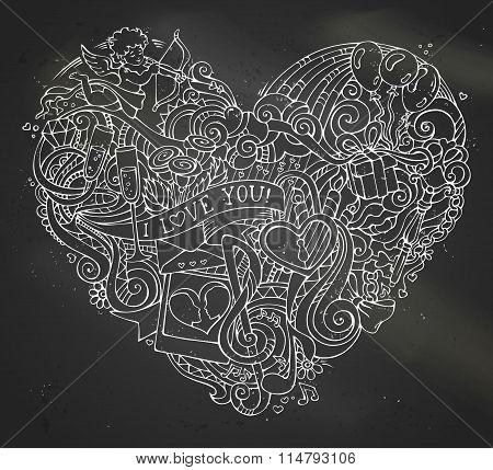 Chalk Hand-drawn Doodles Heart On Blackboard Background.