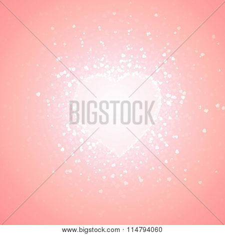 pink background of transparent little hearts