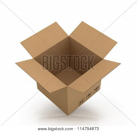 Open Empty Cardboard Box On A White Background.