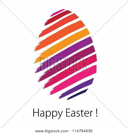 Happy Easter. Greeting Card In Vector Format. Color Can Be Changed By One Click